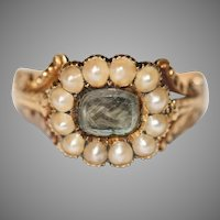Fine Georgian Mourning Pearl And Hair Ring Circa 1830