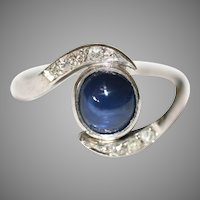 Art Deco Platinum Natural Sapphire Diamond Ring  ca 1935