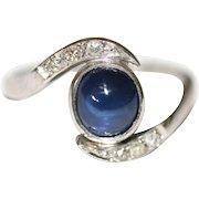 Art Deco Platinum Natural Cabochon Sapphire Diamond Twist Ring  ca 1935