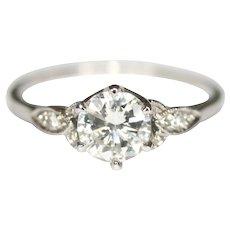 Art Deco Platinum Diamond Solitaire Engagement Ring 0.79 ct Centre