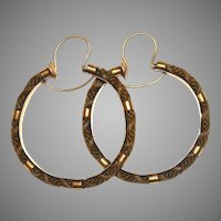 Victorian 18 Carat Gold Hair Hoop Earrings Circa 1850