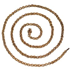 Antique Georgian Pinchbeck Garnet Clasp Longuard Chain Necklace