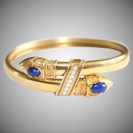 Antique Victorian Etruscan Revival Victorian 15 Carat Gold Lapis Lazuli Pearl Snake Bangle Bracelet