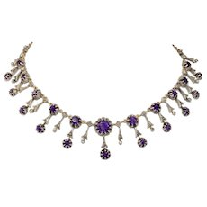 FINE Antique Victorian Gold Silver Set Diamond Amethyst Necklace Earring Set