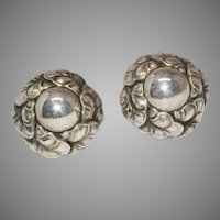 Vintage Danish Sterling Silver Floral Earrings signed Georg Jensen