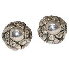 Vintage Danish Sterling Silver Floral Earrings signed Georg Jensen