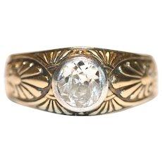 Antique Russian Art Nouveau 14 Carat Gold Diamond Ring