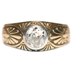Antique Russian Art Nouveau 14 Carat Gold Diamond Ring