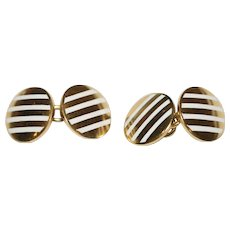 Art Deco 18 Carat Gold White Enamel Cufflinks