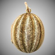 Antique Victorian 15 Carat Gold Perfume Locket Necklace