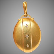 Fine Quality Antique Victorian 18 Carat Gold And Diamond Locket Circa 1875