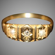 English Victorian 18 carat Gold Diamond Pearl Ring