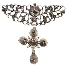 Antique Georgian Silver Diamond Cross Brooch Pin ca 1750