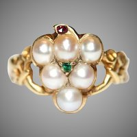 Victorian Pearl Ruby And Emerald Mourning Grape Ring Circa 1860