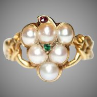 Antique Victorian Pearl Ruby And Emerald Mourning Grape Ring Circa 1860