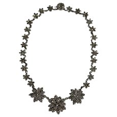 Antique Victorian Cut Steel Floral Necklace