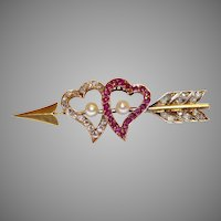 Victorian Natural Ruby Diamond Natural Pearl Witches Heart Arrow Brooch Pin