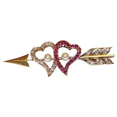 Antique Victorian Natural Ruby Diamond Natural Pearl Witches Heart Arrow Brooch Pin