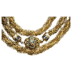OUTSTANDING Antique Austro-Hungarian 20 Carat Gold Enamel Longuard Chain Necklace dated 1824-1866