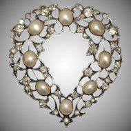 Antique Victorian Gold Natural Pearl Diamond Heart  Pendant Brooch Pin