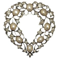 Antique Victorian Gold Natural Pearl Diamond Heart  Pendant Brooch Pin