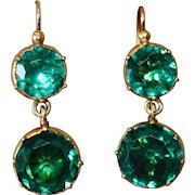 Fine Antique Georgian Gilt Metal Green Paste Drop Earrings