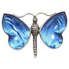 Antique Art Nouveau Sterling Silver Blue Butterfly Wing Brooch Pin