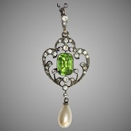 Antique Art Nouveau Silver Paste Pendant circa 1910