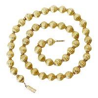 Fine Victorian 18 Karat Gold Bead Necklace Circa 1890