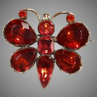 Antique Georgian Red Paste Butterfly Brooch Pin
