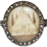 Antique Georgian Sepia Diamond Skull Mourning Ring dated 1770 Masonic?