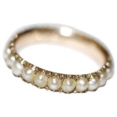 Antique Georgian Natural Pearl Eternity Wedding Band