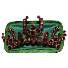 Antique Georgian Flat Cut Garnet Aigrette Brooch Pin