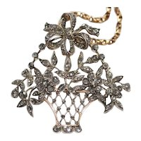 Antique 19th Century Giardinnetto Flower Basket Pendant Brooch Pin
