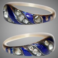 Antique Georgian Blue Ribbon Enamel Diamond Ring