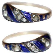 Antique Georgian Blue Ribbon Enamel Diamond Ring