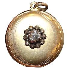 Antique Dutch 14 Carat Gold and Rose Cut Diamond Locket Pendant circa 1910