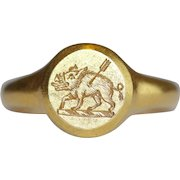 Art Deco 18 Carat Gold English Crest Signet Ring Dated 1927