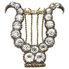 Antique Georgian Gold Silver Paste Lyre brooch Pin