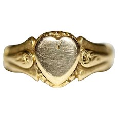 Antique Art Nouveau 18 Carat Signet Heart Wedding Ring