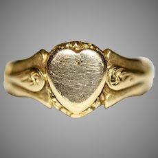 Antique Art Nouveau 18 Carat Signet Heart Wedding Ring