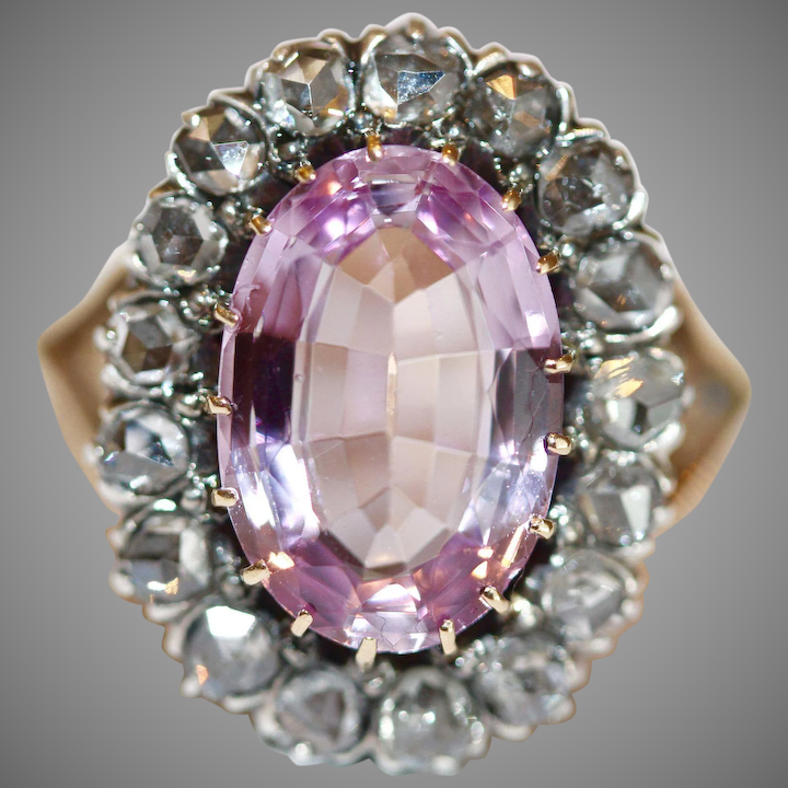 430330d2e2884 Special Antique Victorian Certified Natural Imperial Pink Topaz Diamond Ring