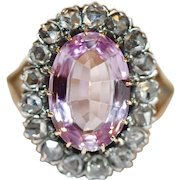 Special Antique Victorian Certified Natural Imperial Pink Topaz Diamond Ring