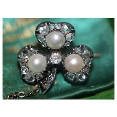 Antique 18 carat Gold Victorian Natural And Cultured Pearl And Diamond Clover Brooch Pin