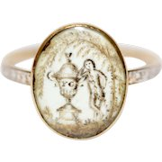 Antique RARE Georgian 18 Carat Gold Sepia White Enamel Mourning Ring Dated 1775