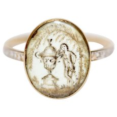 Antique RARE Georgian 18 Carat Gold Sepia White Enamel Mourning Ring Dated 1775