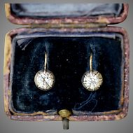 Antique Austro-Hungarian 14 Carat Gold Old Cut Single Stone Diamond Dormeuse Earrings Circa 1890
