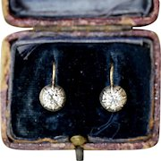 Antique Austro-Hungarian 14 Carat Gold Old Cut Single Stone Diamond Dormeuse Earrings Circa 1890