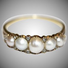 Antique Victorian Natural Split Pearl And Rose Diamond Half Hoop Stacking 15 Carat Gold Ring