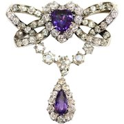 Antique Victorian 14 Carat Gold Amethyst And Old Cut Diamond Heart and Ribbon Brooch/Pin